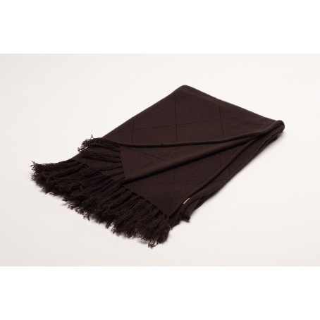 knitted cashmere plaid/stole in square pattern with fringes